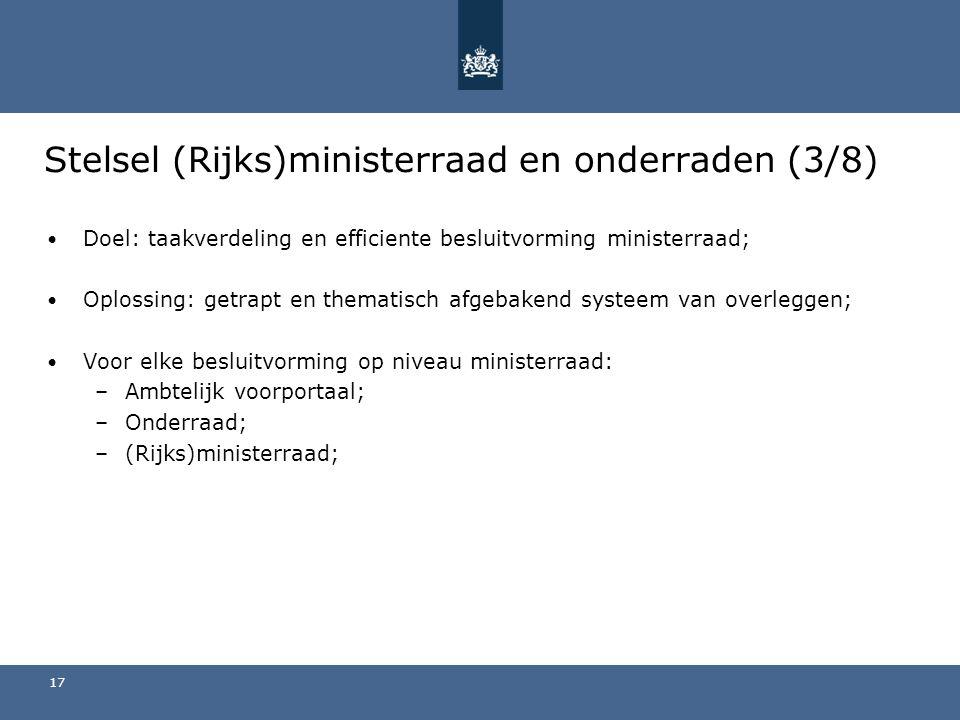 Stelsel (Rijks)ministerraad en onderraden (3/8)