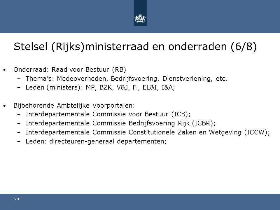 Stelsel (Rijks)ministerraad en onderraden (6/8)