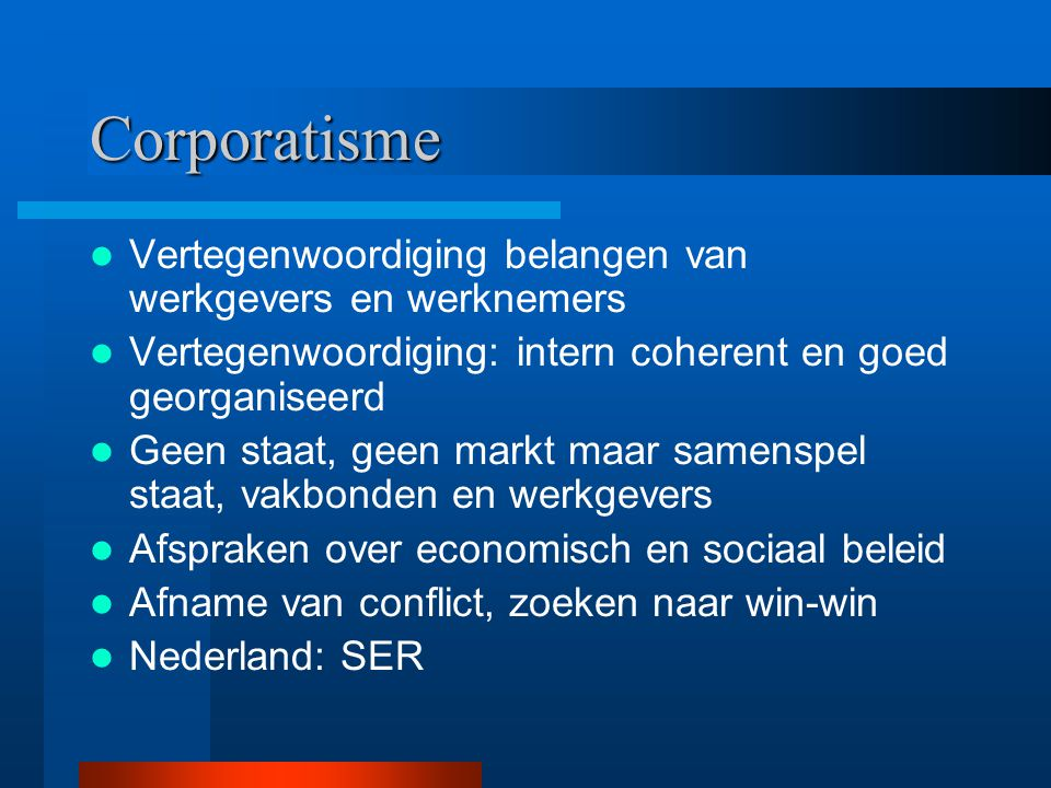 Corporatisme Vertegenwoordiging belangen van werkgevers en werknemers