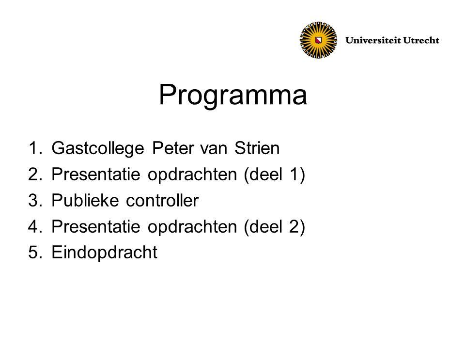 Programma Gastcollege Peter van Strien Presentatie opdrachten (deel 1)