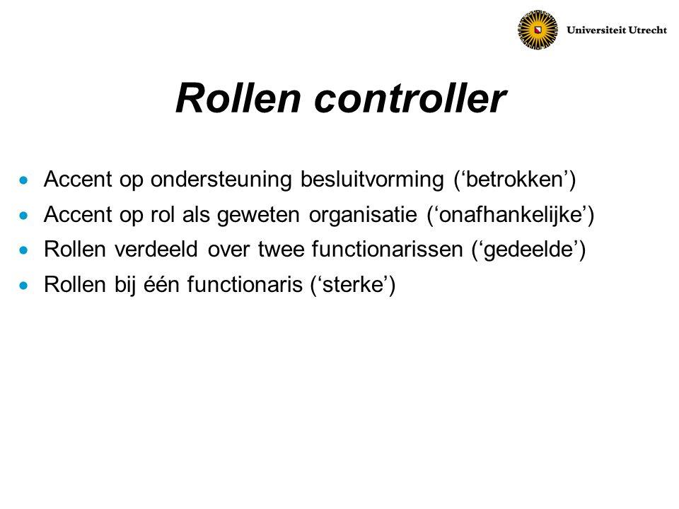 Rollen controller Accent op ondersteuning besluitvorming ('betrokken')