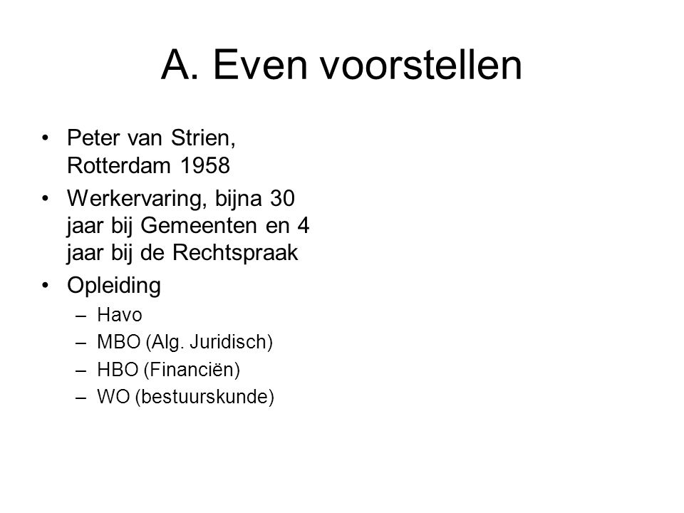 A. Even voorstellen Peter van Strien, Rotterdam 1958