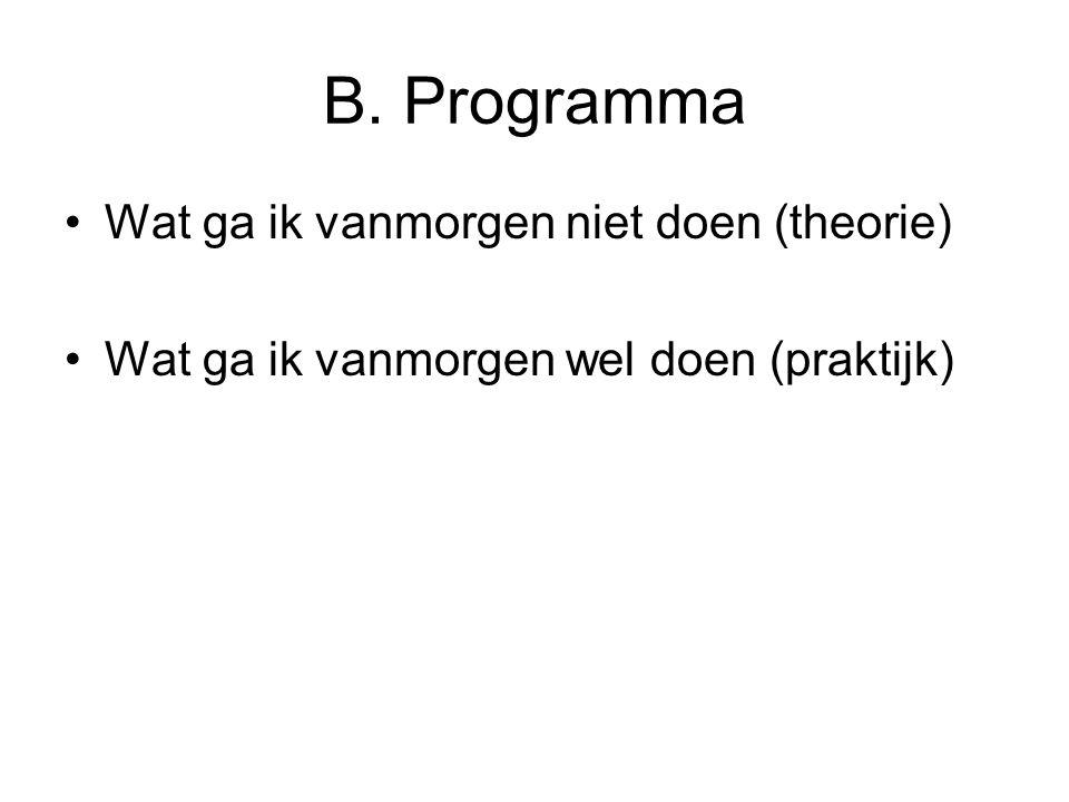 B. Programma Wat ga ik vanmorgen niet doen (theorie)