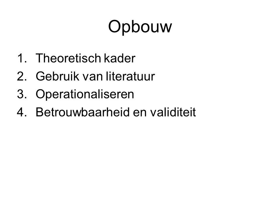 Opbouw Theoretisch kader Gebruik van literatuur Operationaliseren