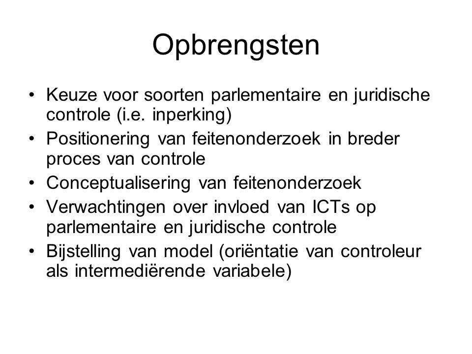 Opbrengsten Keuze voor soorten parlementaire en juridische controle (i.e. inperking) Positionering van feitenonderzoek in breder proces van controle.