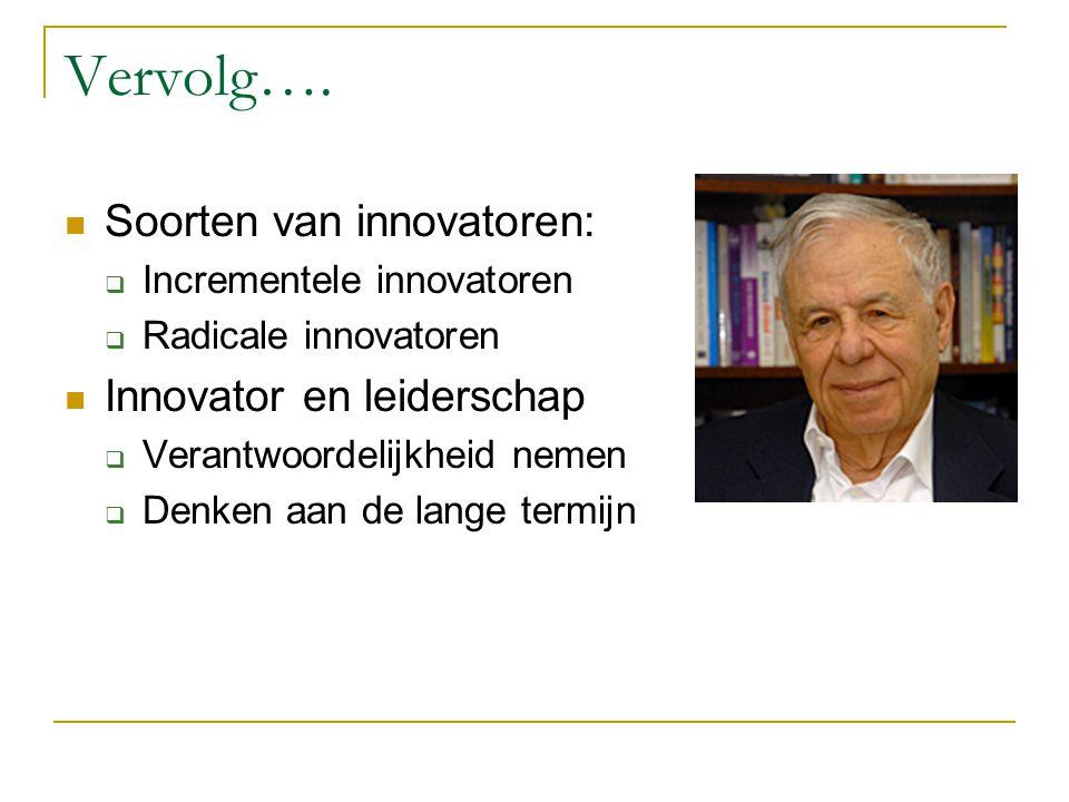 Vervolg…. Soorten van innovatoren: Innovator en leiderschap