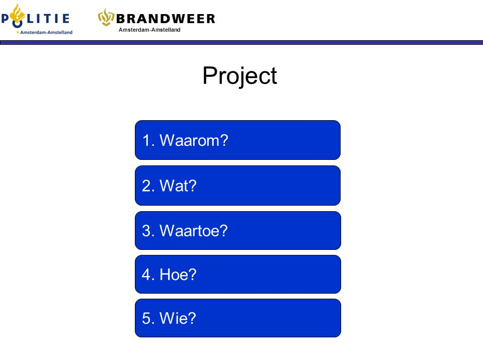 Project 1. Waarom 2. Wat 3. Waartoe 4. Hoe 5. Wie