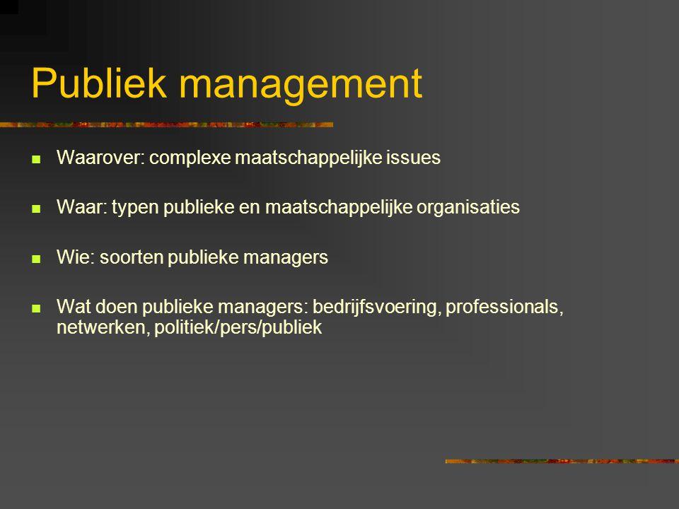 Publiek management Waarover: complexe maatschappelijke issues