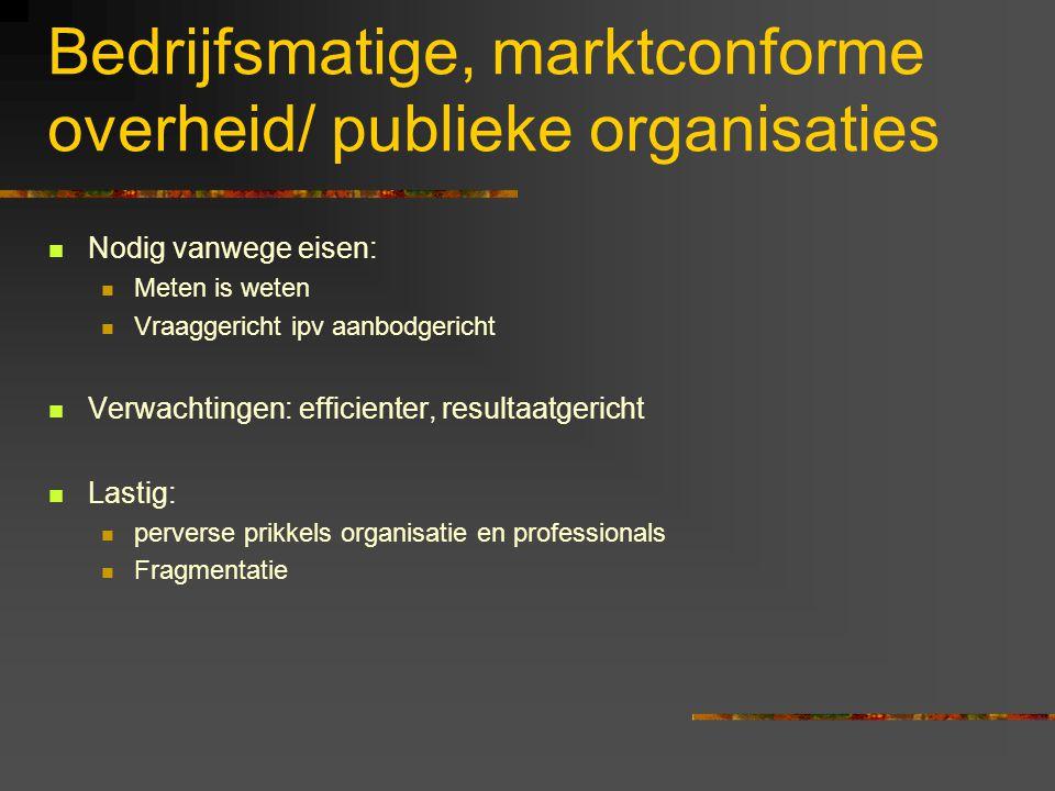 Bedrijfsmatige, marktconforme overheid/ publieke organisaties
