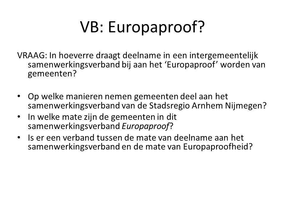 VB: Europaproof VRAAG: In hoeverre draagt deelname in een intergemeentelijk samenwerkingsverband bij aan het 'Europaproof' worden van gemeenten