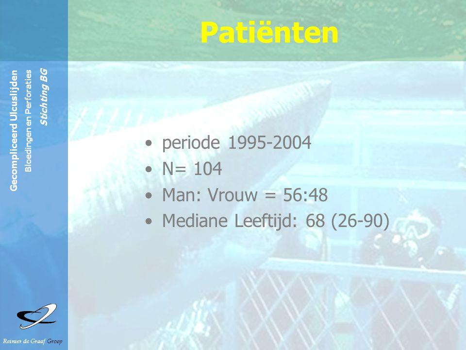 Patiënten periode 1995-2004 N= 104 Man: Vrouw = 56:48