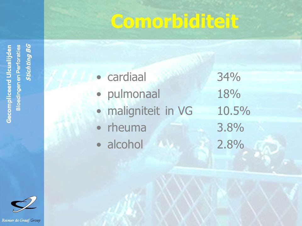 Comorbiditeit cardiaal 34% pulmonaal 18% maligniteit in VG 10.5%