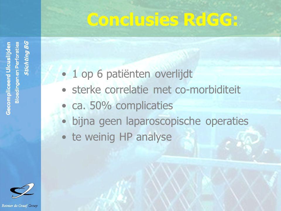 Conclusies RdGG: 1 op 6 patiënten overlijdt