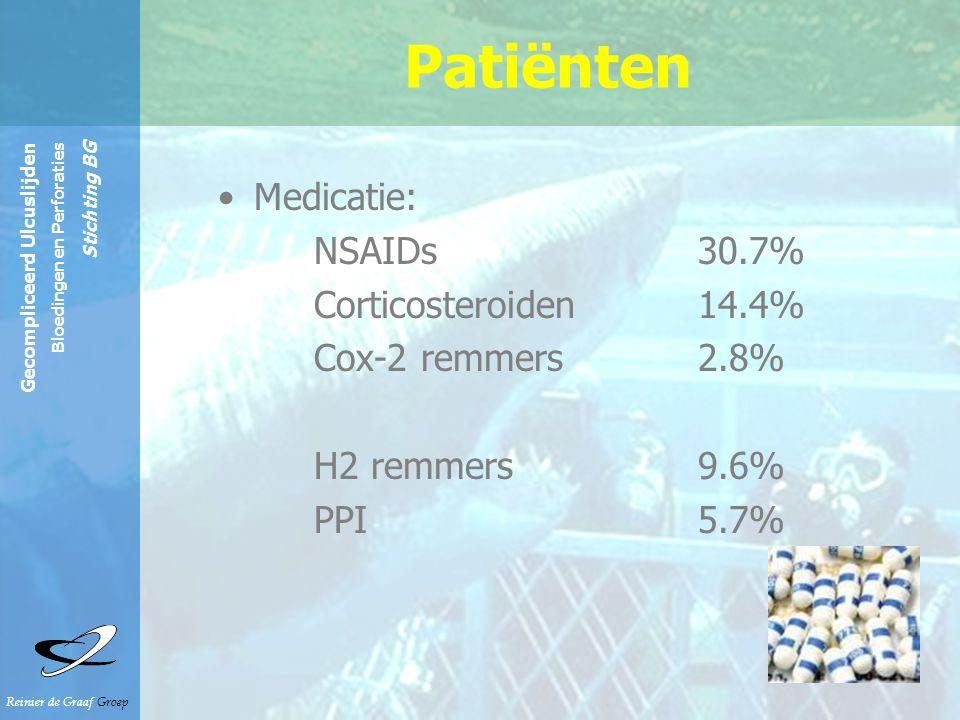 Patiënten Medicatie: NSAIDs 30.7% Corticosteroiden 14.4%