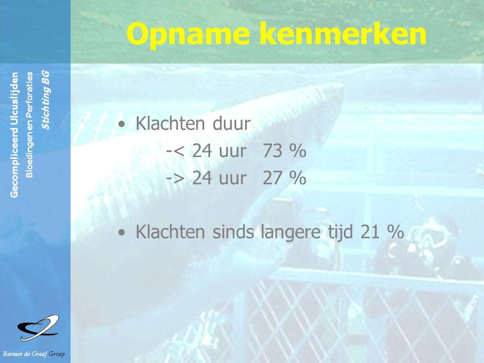 Opname kenmerken Klachten duur -< 24 uur 73 % -> 24 uur 27 %