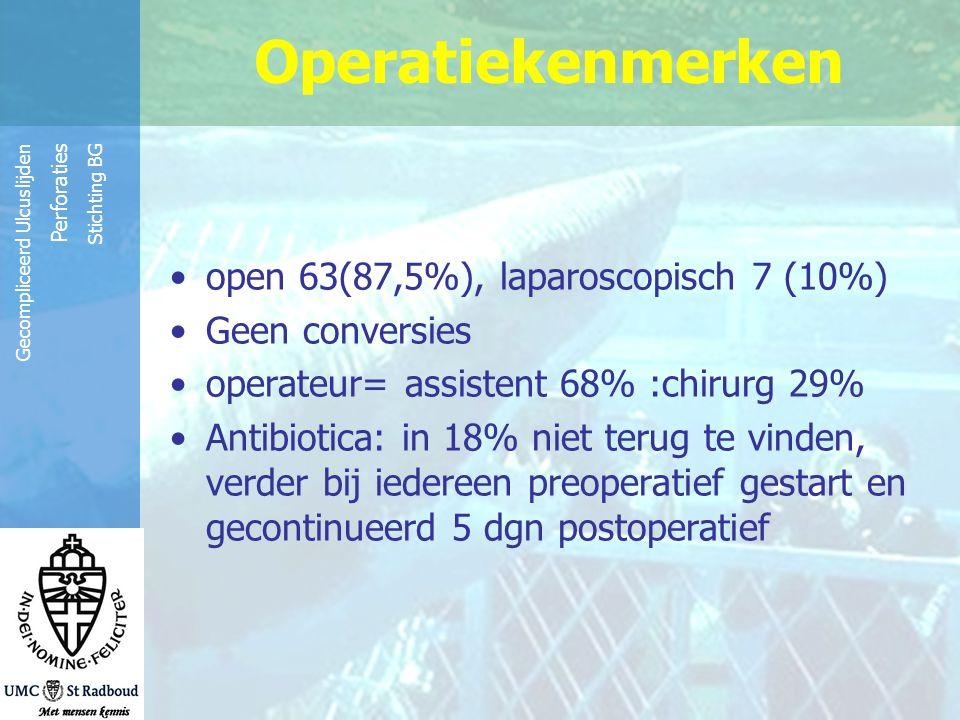 Operatiekenmerken open 63(87,5%), laparoscopisch 7 (10%)