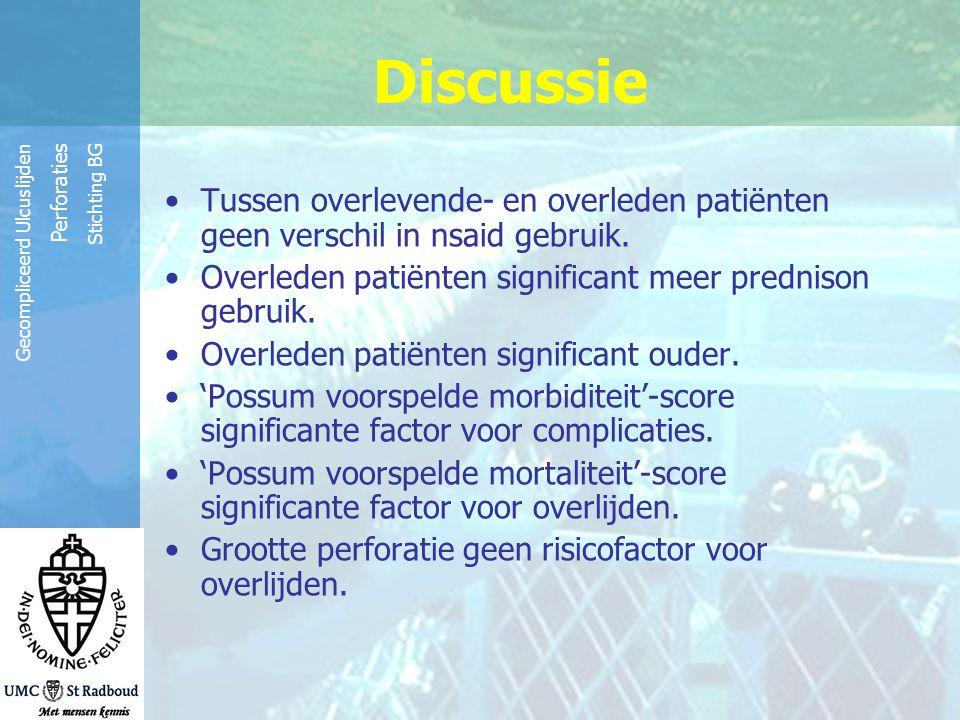 Discussie Tussen overlevende- en overleden patiënten geen verschil in nsaid gebruik. Overleden patiënten significant meer prednison gebruik.