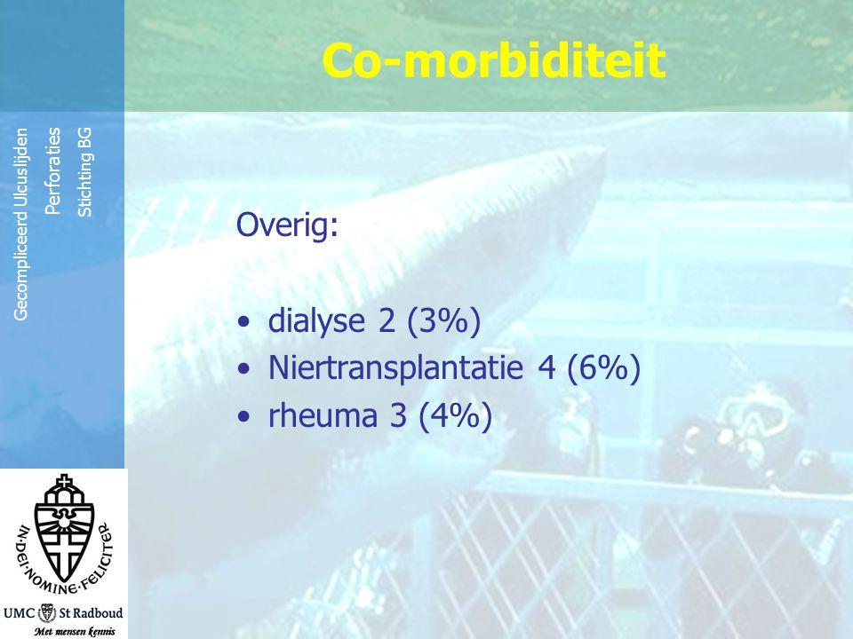 Co-morbiditeit Overig: dialyse 2 (3%) Niertransplantatie 4 (6%)