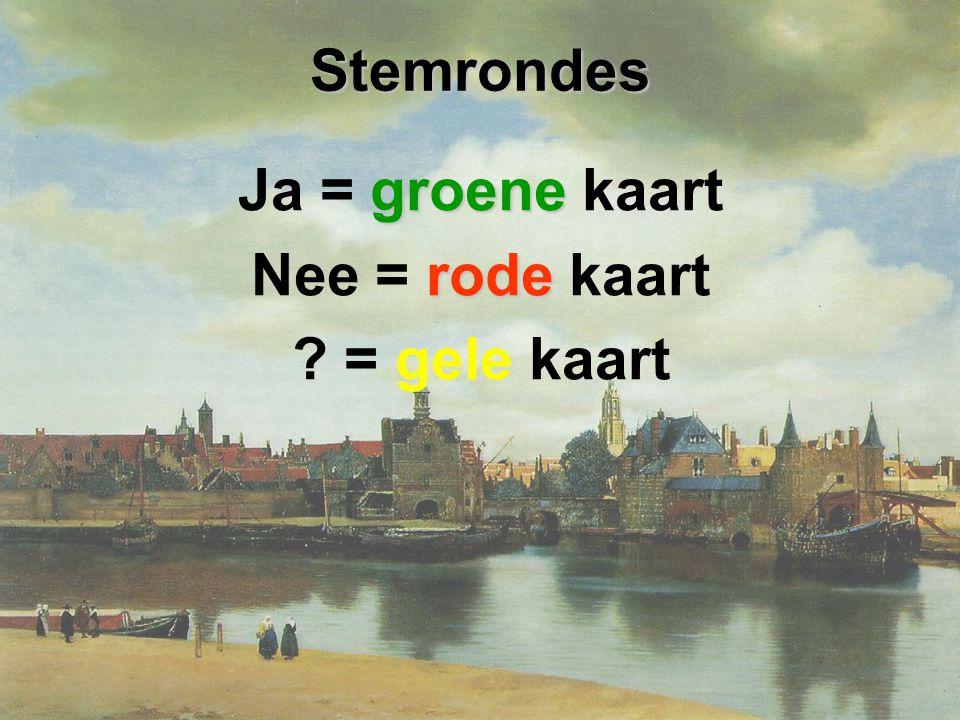 Stemrondes Ja = groene kaart Nee = rode kaart = gele kaart