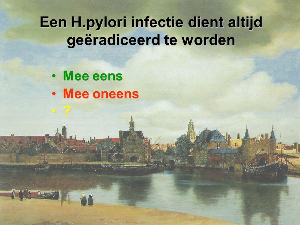 Een H.pylori infectie dient altijd geëradiceerd te worden