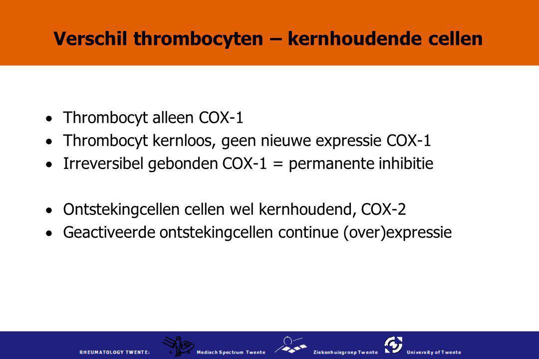 Verschil thrombocyten – kernhoudende cellen