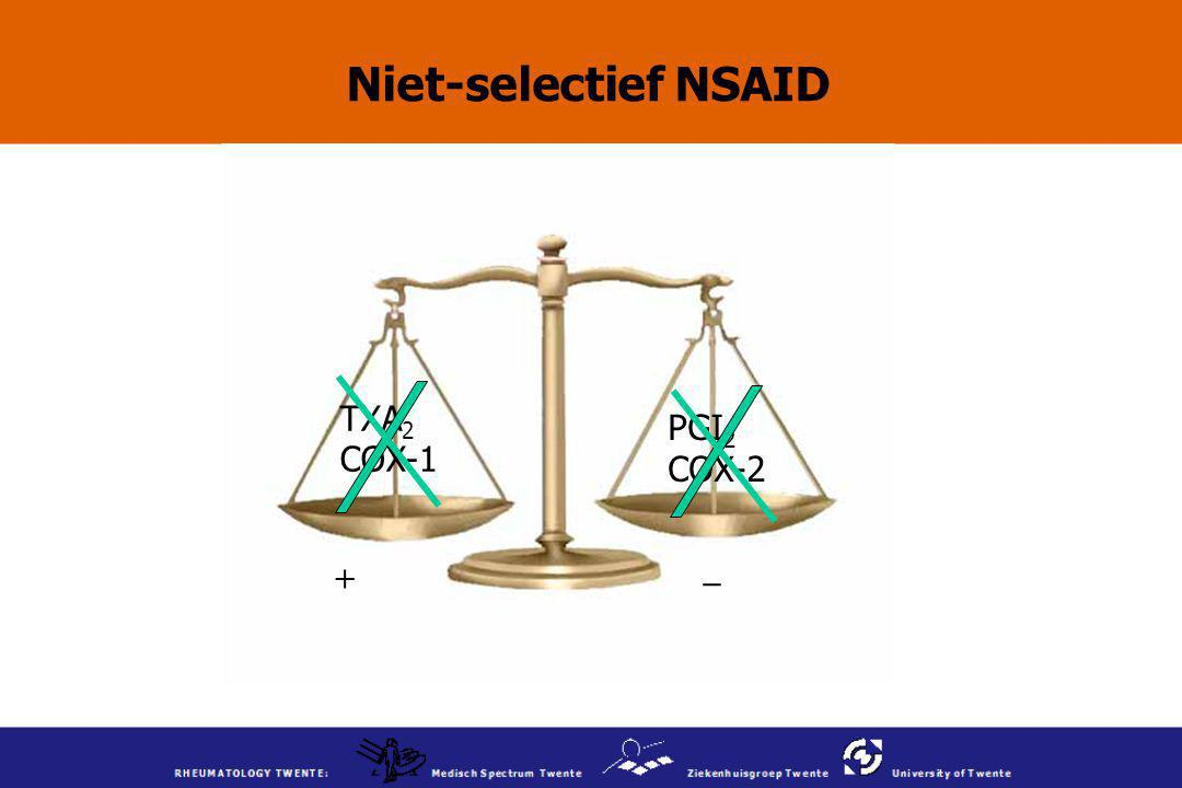 Niet-selectief NSAID TXA2 COX-1 PGI2 COX-2 _ +