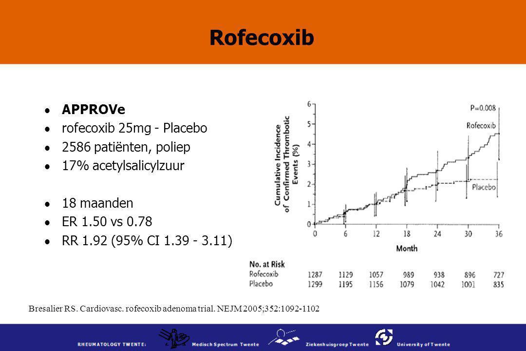Rofecoxib APPROVe rofecoxib 25mg - Placebo 2586 patiënten, poliep