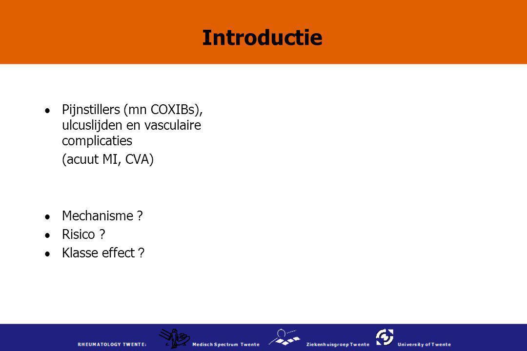 Introductie Pijnstillers (mn COXIBs), ulcuslijden en vasculaire complicaties. (acuut MI, CVA) Mechanisme