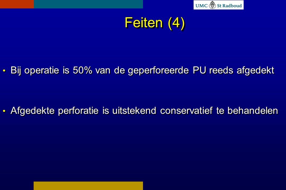 Feiten (4) Bij operatie is 50% van de geperforeerde PU reeds afgedekt