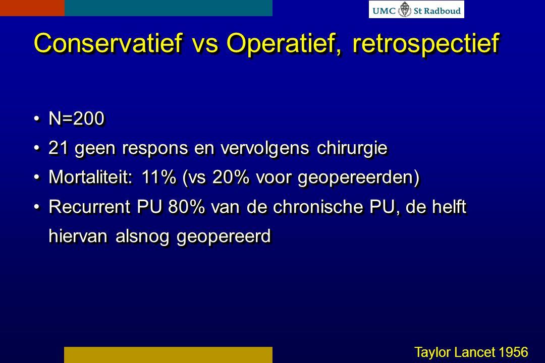 Conservatief vs Operatief, retrospectief