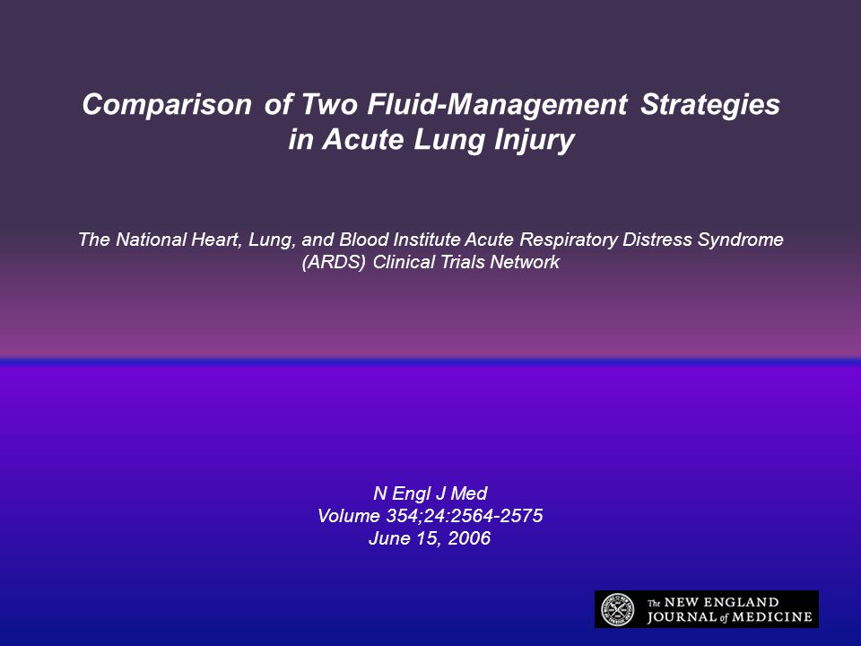 Comparison of Two Fluid-Management Strategies in Acute Lung Injury