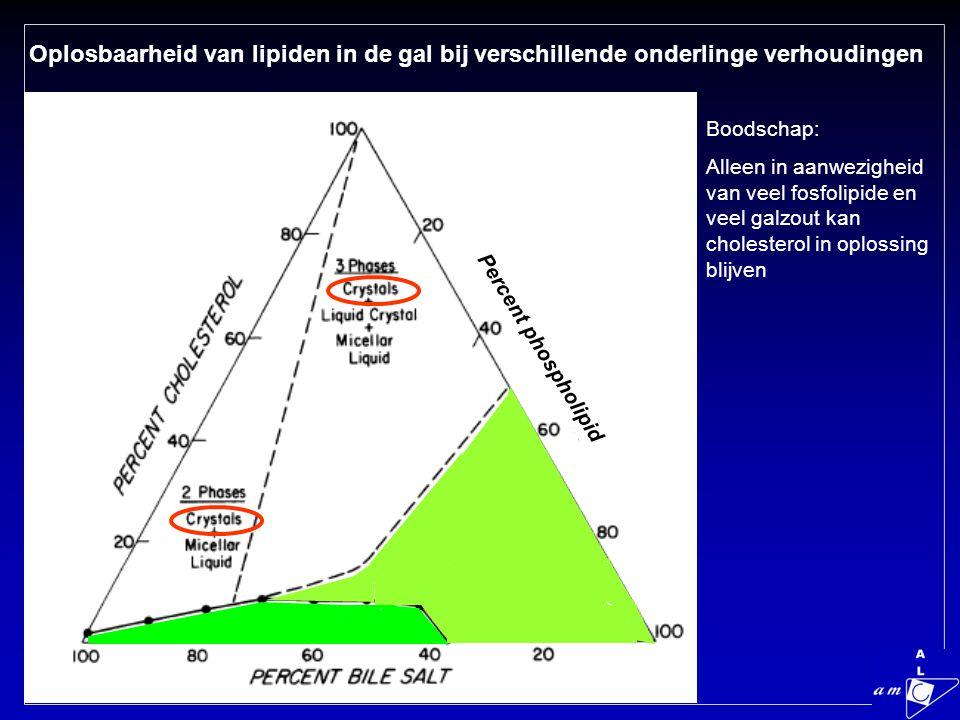 Oplosbaarheid van lipiden in de gal bij verschillende onderlinge verhoudingen