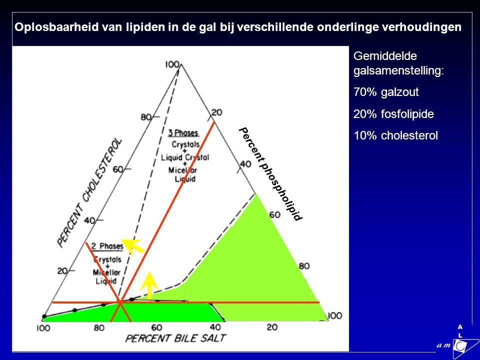 Gemiddelde galsamenstelling: 70% galzout 20% fosfolipide