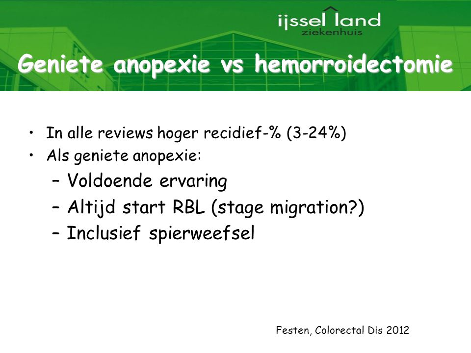 Geniete anopexie vs hemorroidectomie