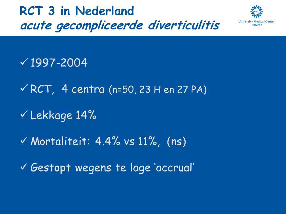 RCT 3 in Nederland acute gecompliceerde diverticulitis