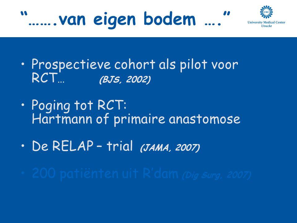 …….van eigen bodem …. Prospectieve cohort als pilot voor RCT… (BJS, 2002)