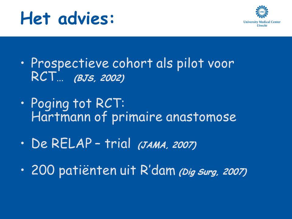 Het advies: Prospectieve cohort als pilot voor RCT… (BJS, 2002)