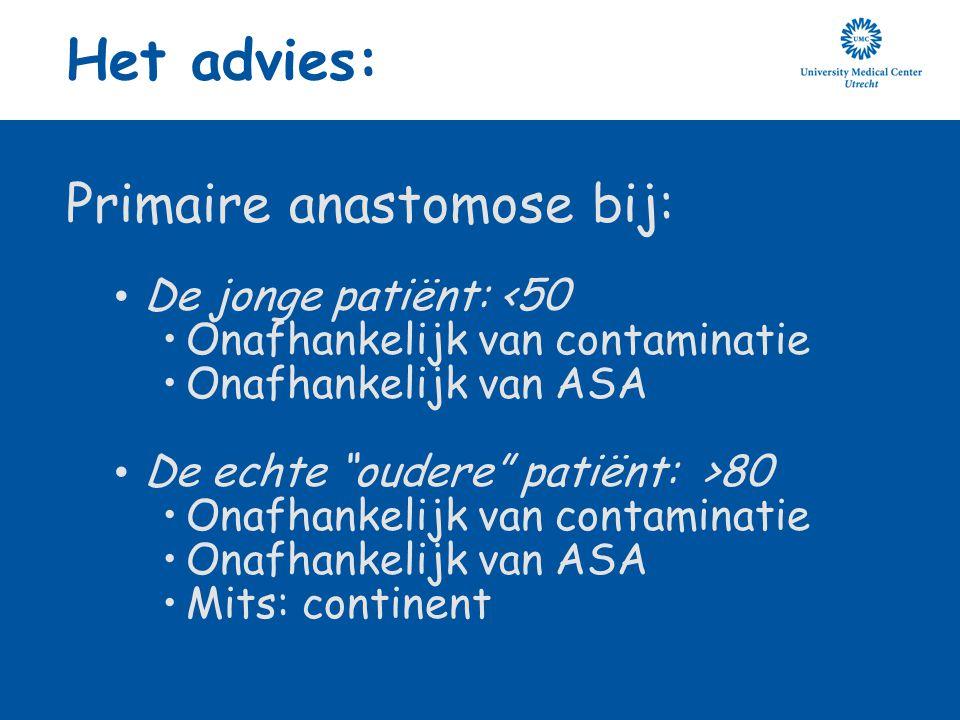 Het advies: Primaire anastomose bij: De jonge patiënt: <50