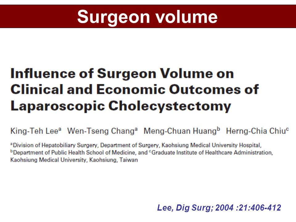 Surgeon volume Lee, Dig Surg; 2004 :21:406-412
