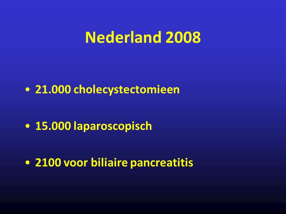 Nederland 2008 21.000 cholecystectomieen 15.000 laparoscopisch