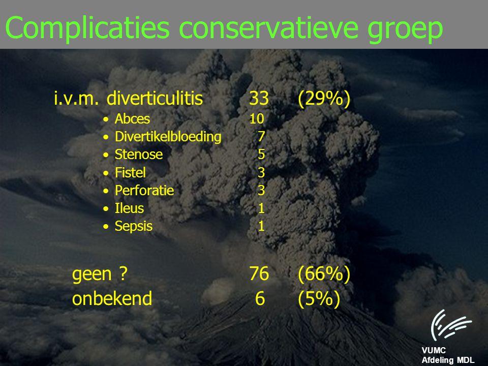 Complicaties conservatieve groep