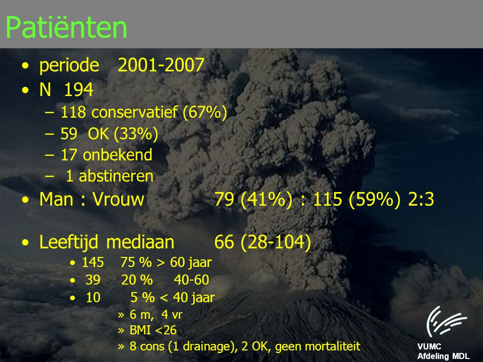 Patiënten periode 2001-2007 N 194 Man : Vrouw 79 (41%) : 115 (59%) 2:3
