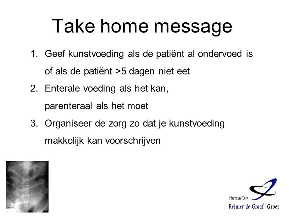 Take home message Geef kunstvoeding als de patiënt al ondervoed is of als de patiënt >5 dagen niet eet.