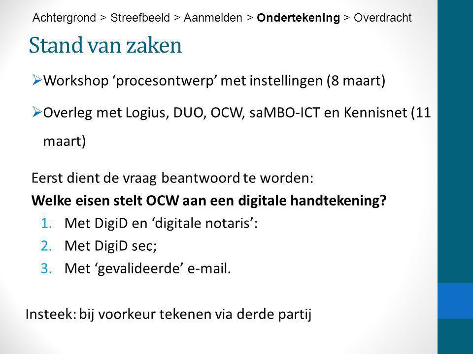 Stand van zaken Workshop 'procesontwerp' met instellingen (8 maart)