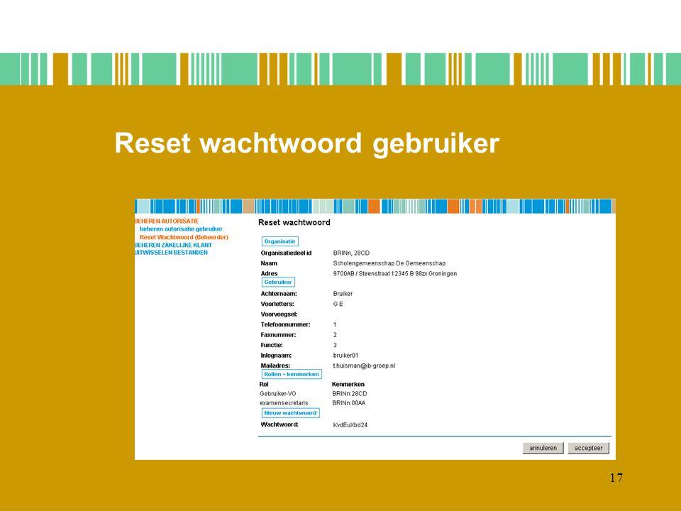 Reset wachtwoord gebruiker