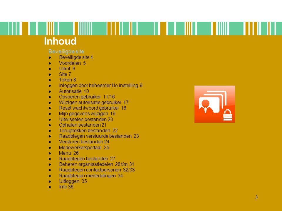 Inhoud Beveiligde site Beveiligde site 4 Voordelen 5 Uitrol 6 Site 7