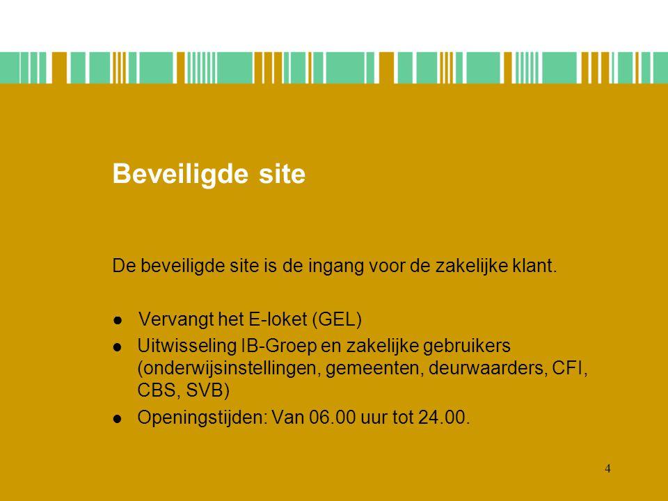Beveiligde site De beveiligde site is de ingang voor de zakelijke klant. ● Vervangt het E-loket (GEL)
