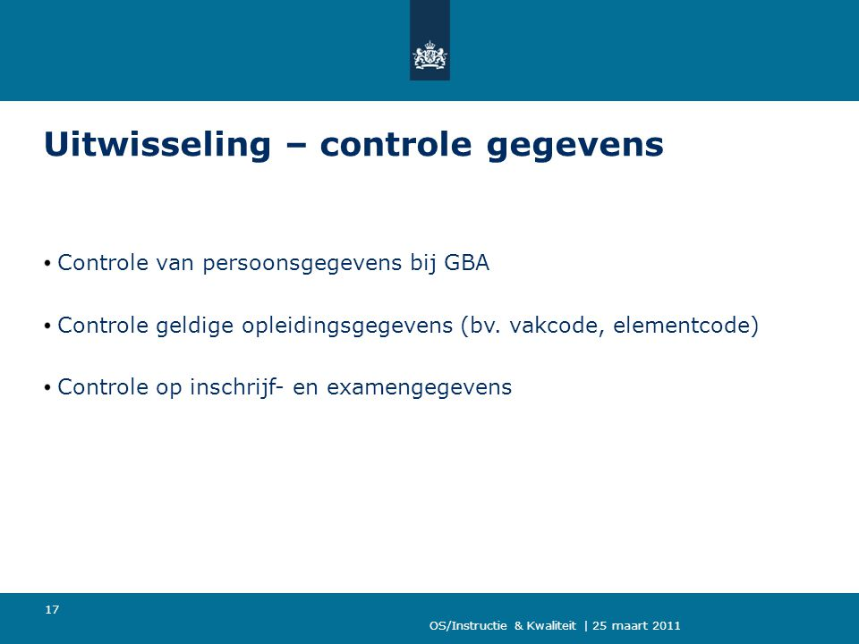 Uitwisseling – controle gegevens