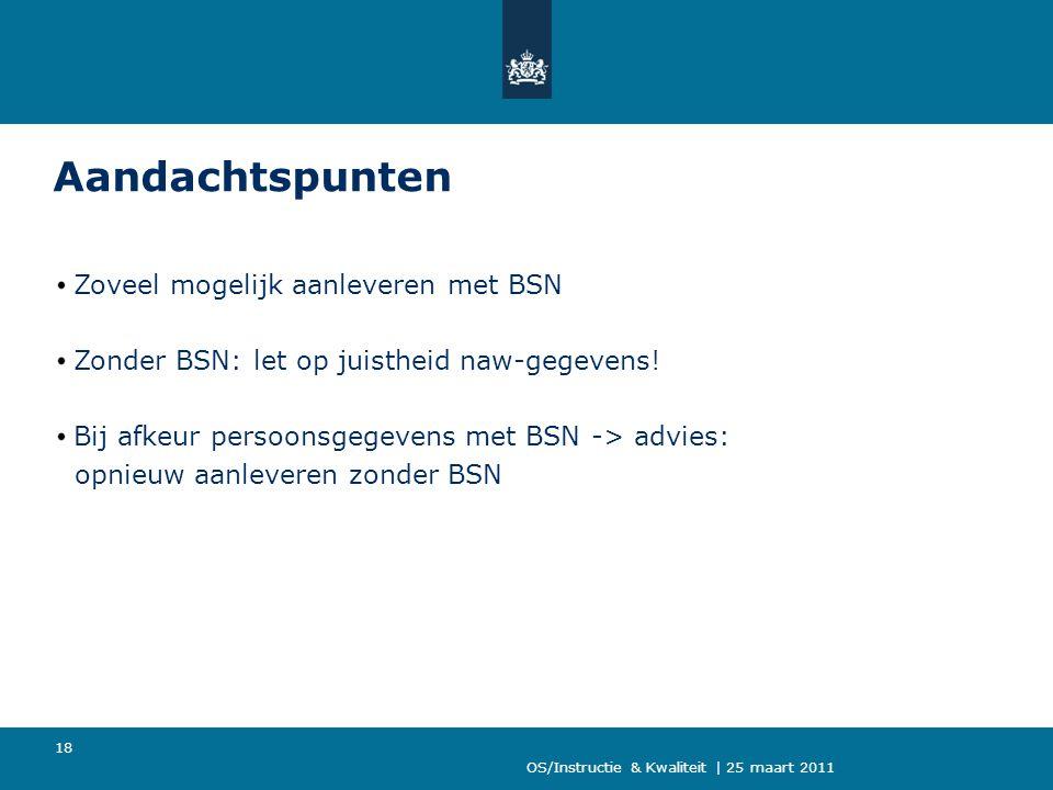 Aandachtspunten Zoveel mogelijk aanleveren met BSN