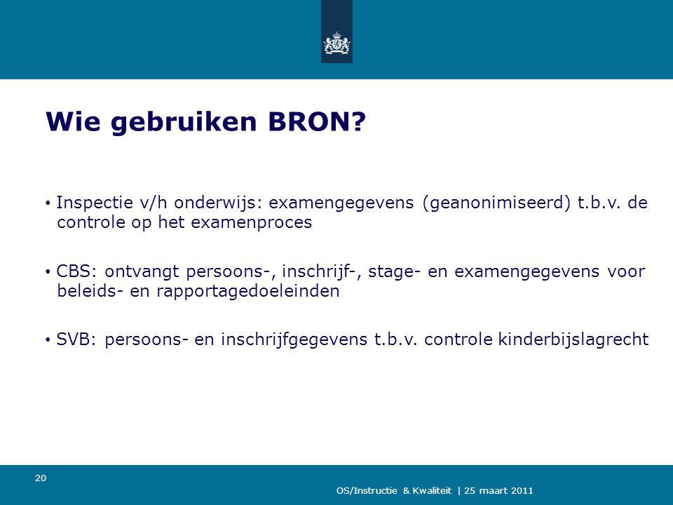 Wie gebruiken BRON Inspectie v/h onderwijs: examengegevens (geanonimiseerd) t.b.v. de controle op het examenproces.